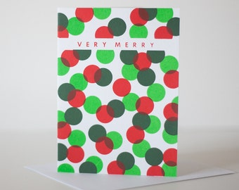 holiday card very merry dots blank card