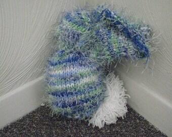 Scrap-Yarn Soft Light Blue Fuzzy-tailed Bunny