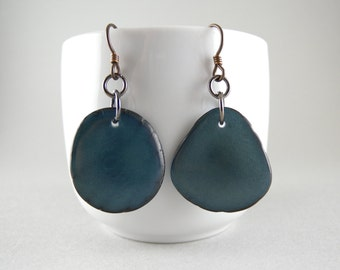 Denim Blue Jean Tagua Nut Eco Friendly Earrings with Free USA Shipping