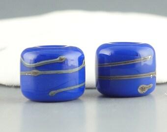 Lampwork Glass Beads, Handmade Lampwork Bead set, Handmade Beads, Artist Lampwork, Lampwork Bead Pair, earring bead pair, Cobalt Blue