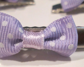 3 petite lavender with white polka dot bows hand made hair clips
