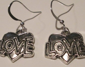 LOVE heart silver plate charm pierced dangle earrings