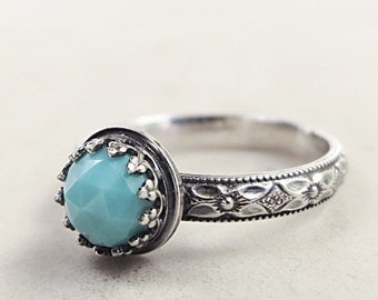 Turquoise ring, Sterling Silver, Medieval Style, Turquoise jewelry
