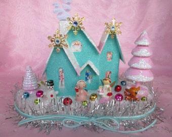 Custom Order....Christmas Village Putz Style House..Handmade and Ooak