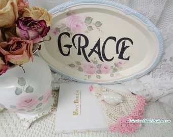 Grace Metal Tray Sign, Hand Painted, Home Accent, Collectible, Decorative, Gift, Keepsake, Pink Roses, ECS