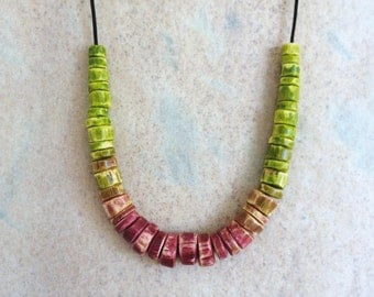 Cast plaster 'Bougainvillea' necklace, gradient of lime and deep pink beads handmade in Australia by Kuberstore
