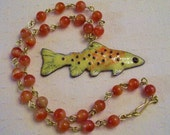 Enameled Apache Trout Necklace