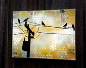 Birds on a Wire on Canvas Graffiti Pop Art Style Original Artwork Stencil Urban Street Art