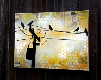 Graffiti Art Paitning Birds on a Wire on Canvas Graffiti Pop Art Style Original Artwork Stencil Urban Street Art