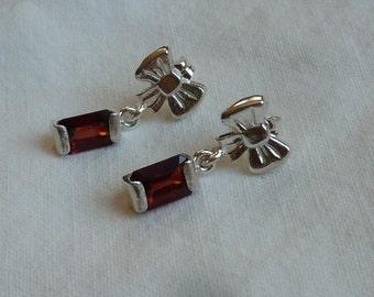 7mm x 5mm emerald cut 3 ctw red garnet sterling silver post dangle earrings