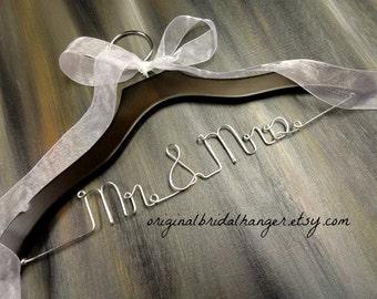 Brown Wood Bride Hanger - Elegant Hangers - Mr and Mrs Hangers - Writing in Wire- Bride and Groom - Etsy Hangers - Silver Wire - Rustic