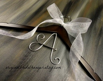 Wooden Wedding Hanger - Silver Initial - Wire Letters - Wire Monogram - Wedding Monogram - Dress Hangers - Coat Hangers - Wedding Photo Prop