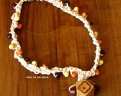 Choker with Wood Beads on Handmade Crocheted Beige Threads and Carved Wood Pendant - 13 1/2 Inches Long
