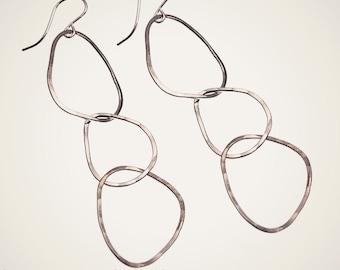 RIVER ROCK sterling silver hoop earrings handmade hammered jewelry nature inspired earrings hammered earrings long earrings hoop earrings