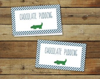 Alligator baby shower printables, buffet tag table tents for baby shower or birthday