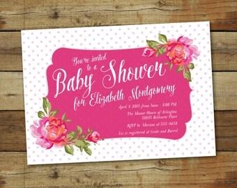 Baby Shower Invitation, Vintage rose baby Shower Invite, elegant invitation with pink polka dots, baby girl