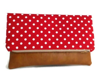 SALE Polka Dot Foldover Clutch - Red and White - Envelope Bag - Vegan Leather - Cotton