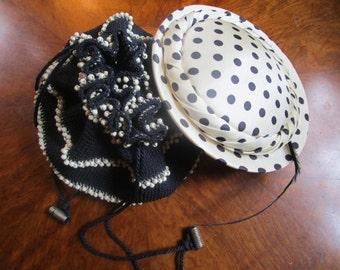 40s Swing Saucer Hat Wood Bead Purse Bag Handbag Vintage Polka Dots Navy White WW2
