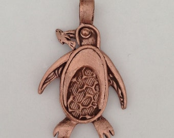 Handmade Copper Penguin Pendant