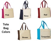 PERSONALIZED Extra Large Canvas Beach Tote Bag