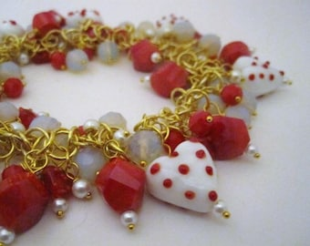 CLEARANCE Heart Charm Bracelet with Red, White and Gold, Valentine's Day Gift