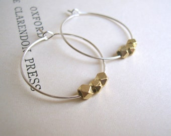 Yellow Gold and Silver mixed metal hoop earrings - little facetted beads - minimalist jewellery