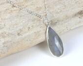 Labradorite Silver Necklace, Labradorite Pendant on Silver Chain, Silver Necklace