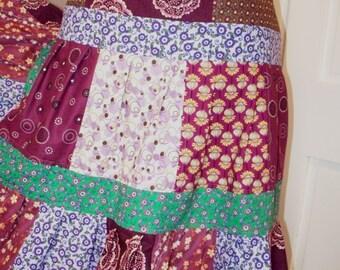 Purple Patchwork Prints Maxi Skirt Hippie Boho