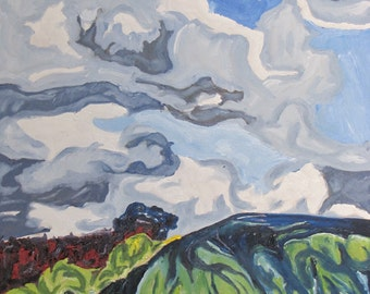 "Art Large Oil Painting Landscape Original Cloud Sky Impressionist Abstract Appalachian Quebec Canada By Fournier "" Over The Hill #0 x 24"