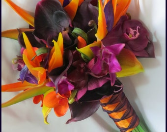 Tropical Wedding Bridal Bouquet Set - Callas, Birds of Paradise, Orchids, Grass - Real Touch Flowers