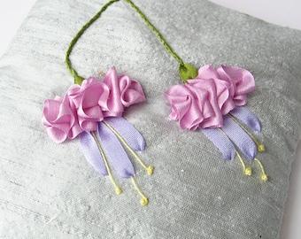 Fuchsias lavender sachet, silk ribbon embroidery, embroidered fuchsias, floral sachet, aromatherapy pillow, silk sachet, linen freshener