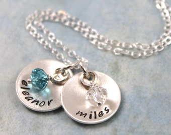 Mother's Day, Personalized Jewelry, custom name, Personalized Necklace, Birthstone Jewelry, Gift for Mom, Custom Hand Stamped