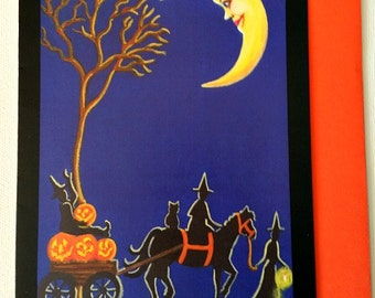"""Halloween frame-able greeting card """"Home after Harvest"""""""