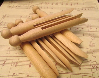 Vintage Wooden Clothes Pins- Set of 10