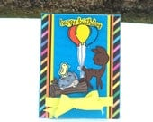 Kids' Children's Teens Birthday Card, Happy Birthday, with Balloons, Deer, Hedgehog and Bird on a Log