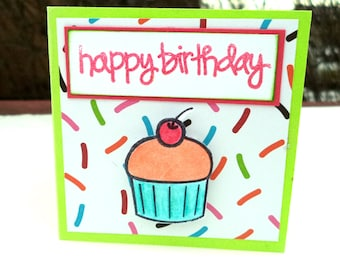 Birthday Cards, Cupcake Cards, Mini Birthday Cards, Set of 3, Happy Birthday, 3x3 Cards, Birthday Cupcake Cards, Come with Envelopes