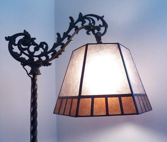 mica lamp shade replacement for your antique vintage bridge floor lamp. Black Bedroom Furniture Sets. Home Design Ideas