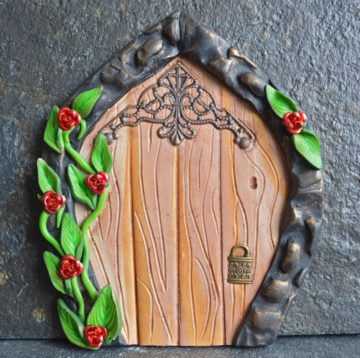 Sale red rose fairy door miniature fairy door fairy by for Mini fairy door