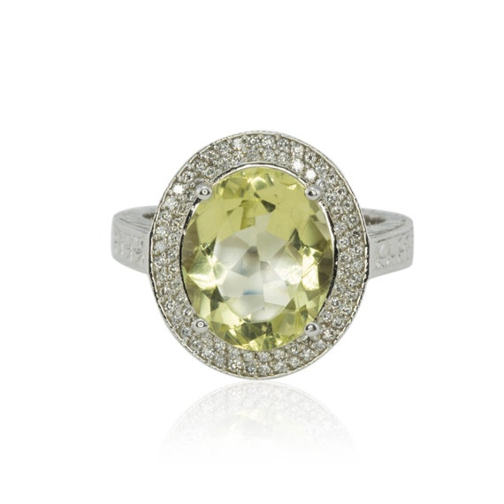 Laurie Sarah Hand Engraved Yellow Quartz and Diamond Engagement or Right Hand Ring - LS1259