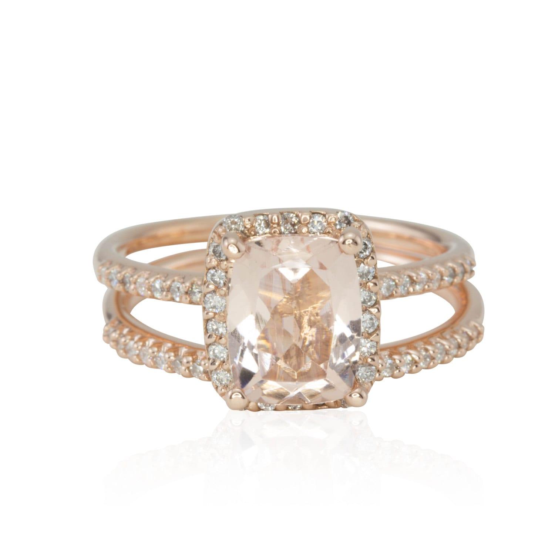 Morganite Rose Gold Engagement Ring Cushion Cut Morganite