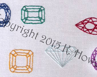 Gem Stones Hand Embroidery Pattern