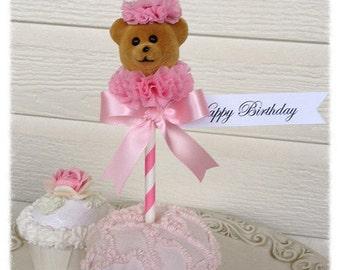 Birthday Decoration Shabby Chic  Cupcake  Topper Birthday Bear  Birthday Decoration for Birthday Party Birthday Ornament