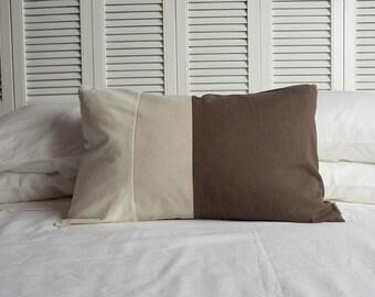 Tri-Colour Pillow, Hemp, Linen, Cotton, Natural, Oatmeal, Brown, 16x24