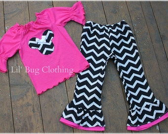 Custom Boutique Clothing Minnie Mouse Pink Black White Chevron Pant And Knit Peasant Top Outfit