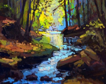 Rushing Stream - Giclee Fine Art PRINT of Original Painting matted 11x14 by Jan Schmuckal