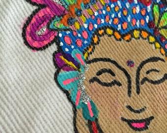 Buddha Artsy Coin Purse- Pouch- Makeup Bag- Clutch