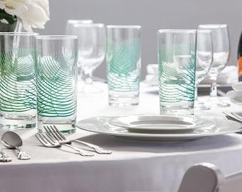 Summer Ferns Glassware - Set of 50 Wedding Favor Glasses - Summer Wedding, Wedding Glassware, Wedding Favors, Wedding Glasses, Fern Glasses