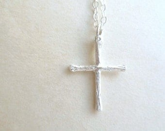 Cross Necklace - Charity - Sterling Silver - Tiny Twigs - Religious - Miniature - Cross Jewelry - Gift for Her - Christmas - Holiday Gift