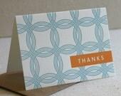 Thank You Notes, Rings Pattern, Orange Thanks, Letterpress
