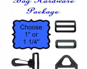 """10 Sets - HAND BAG HARDWARE Package - Black Plastic - 1"""" or 1 1/4"""""""